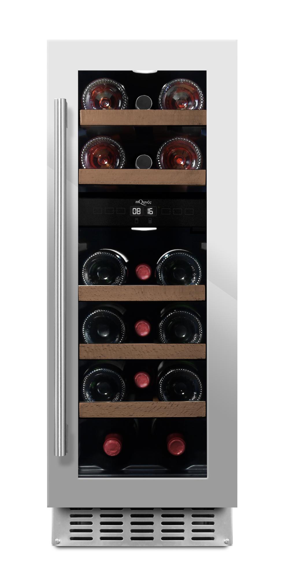 Inbyggbar vinkyl från mQuvee i stainless- plats för 16 flaskor