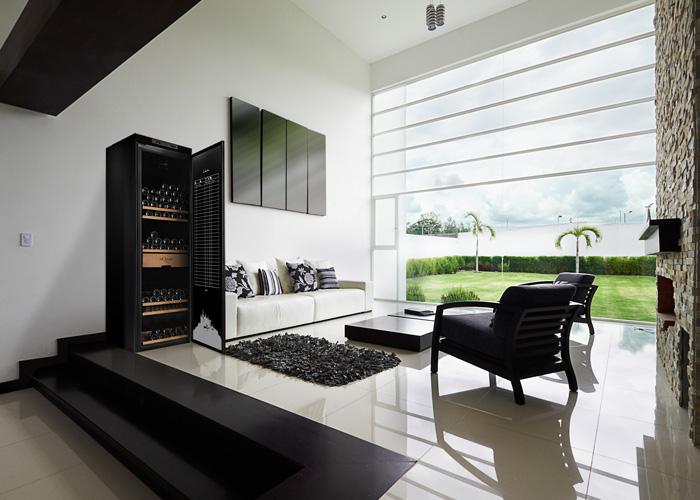 Vinlagringsskåp med exklusiva trähyllor i upplyst vardagsrum
