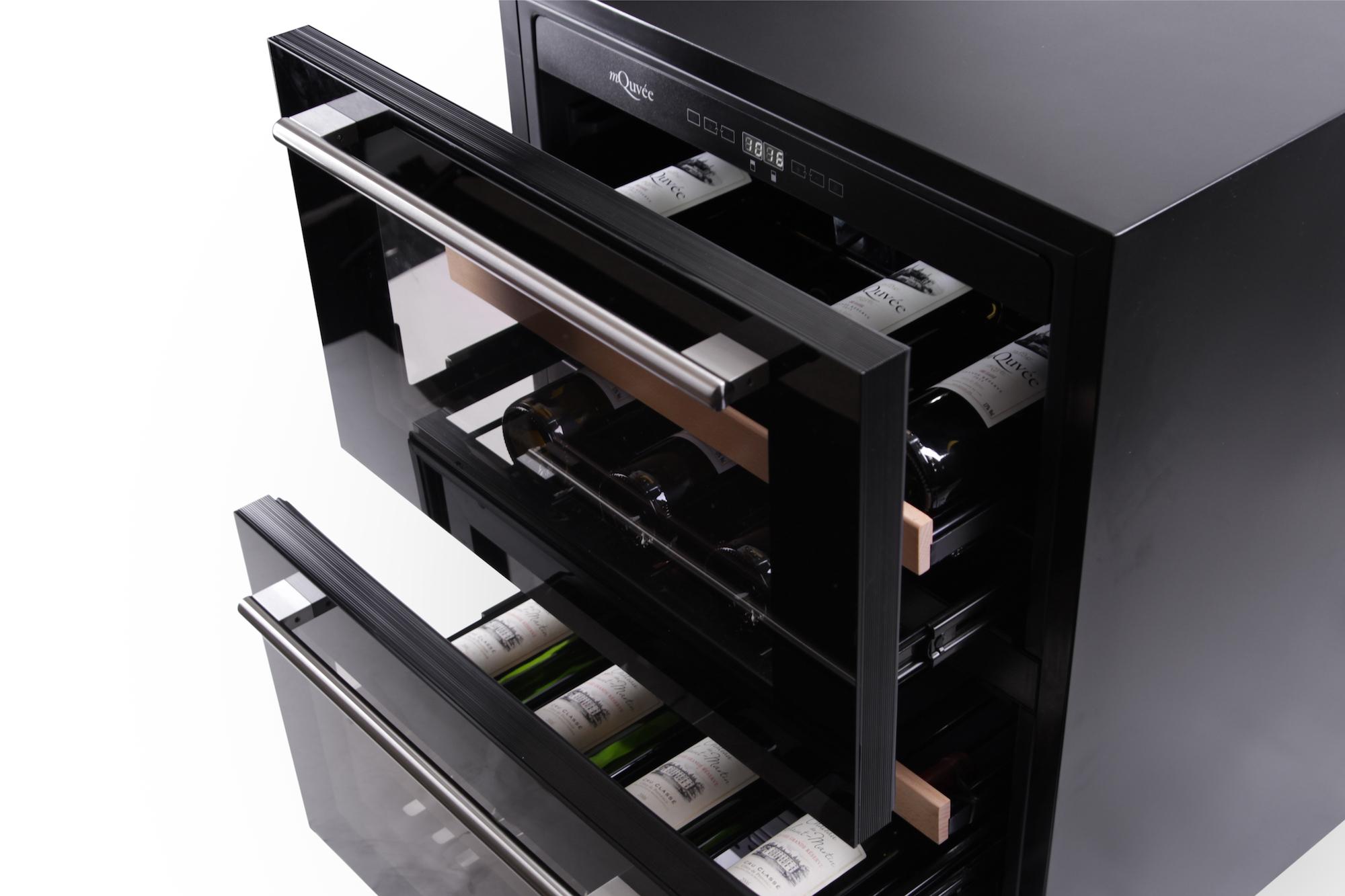 Svart inbyggbar vinkyl med två lådor
