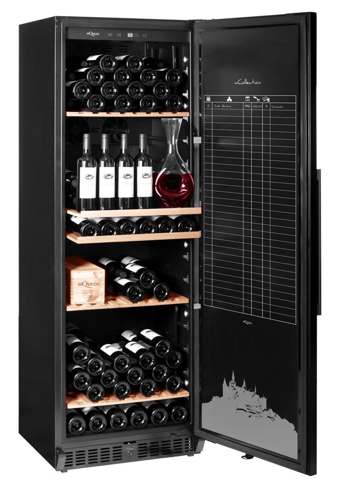 Rejält vinlagringsskåp i svart design