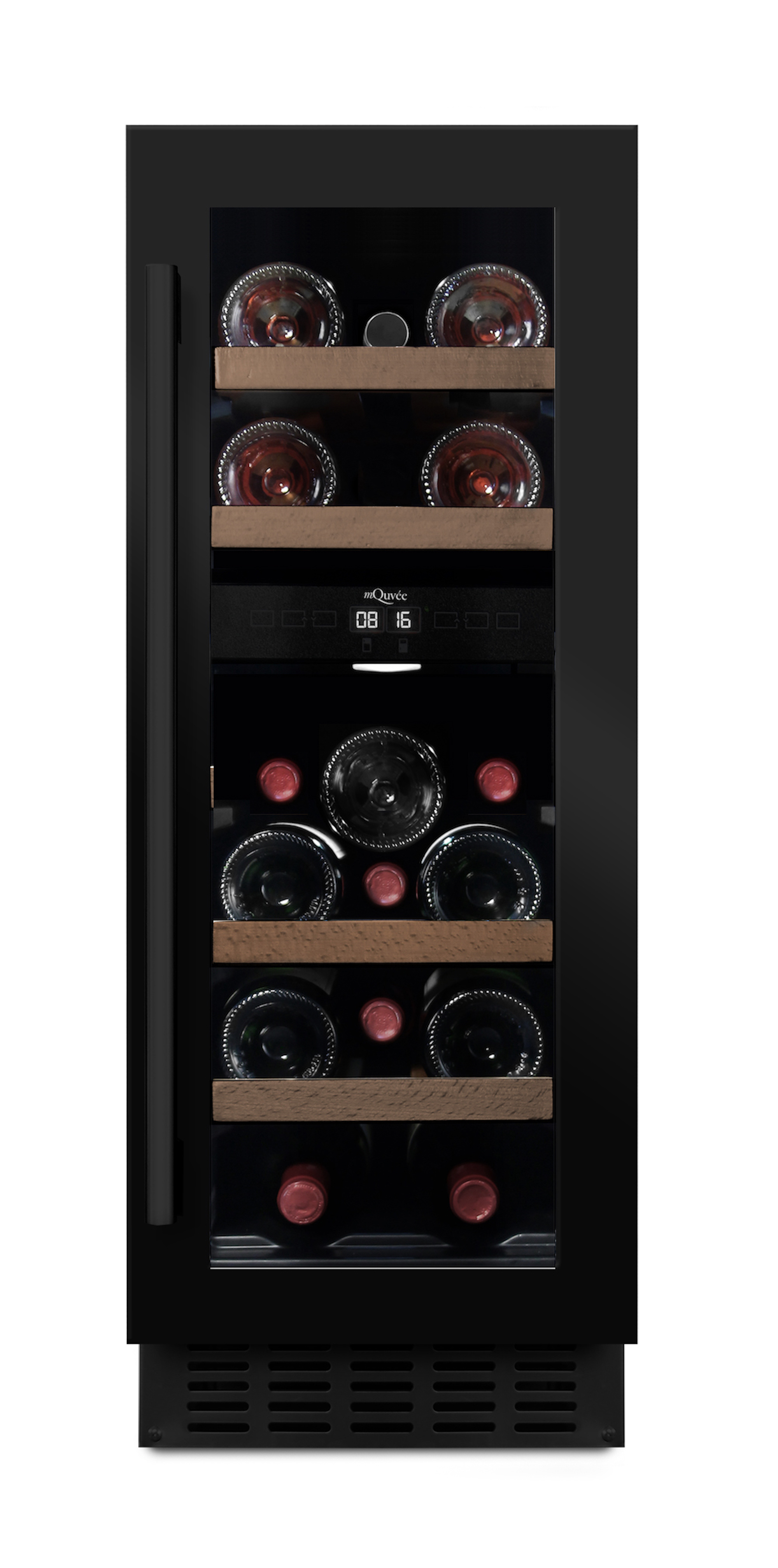 Inbyggbar svart vinkyl från mQuvee - plats för 16 flaskor