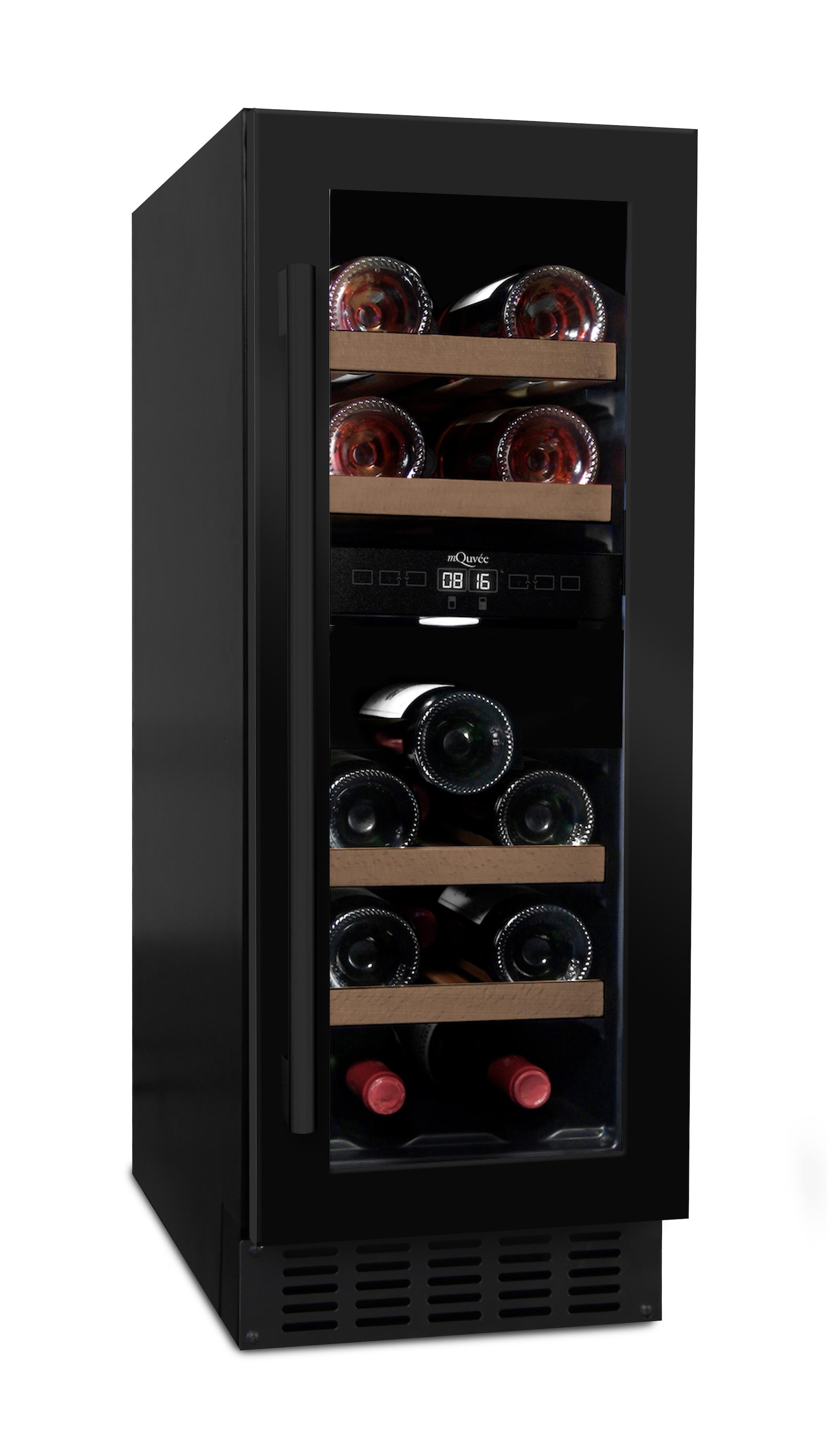 Inbyggbar svart vinkyl från mQuvee med 4 hyllor