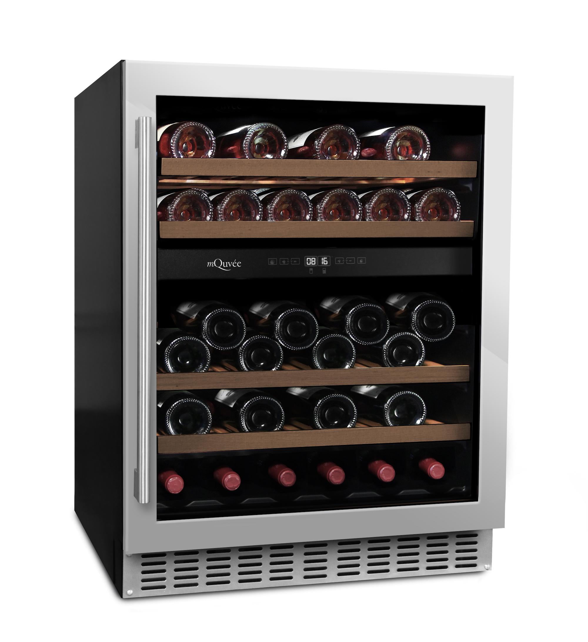 Inbyggbar rostfri vinkyl från mQuvee med plats till 45 flaskor