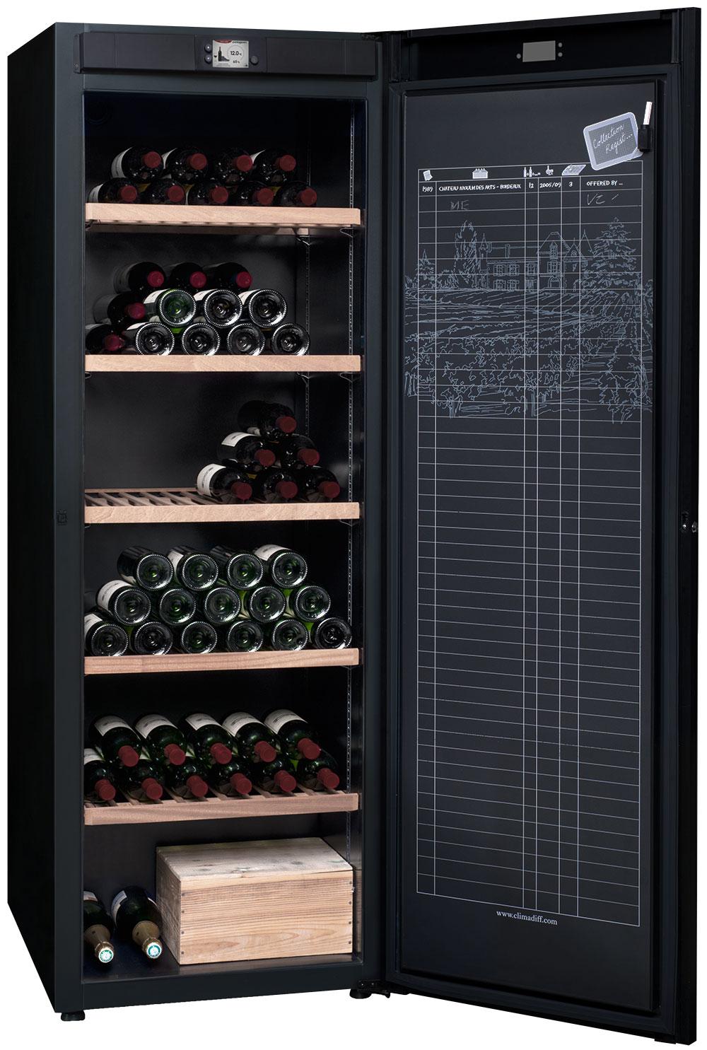 Vinlagringsskåp med monotemperatur i svart design