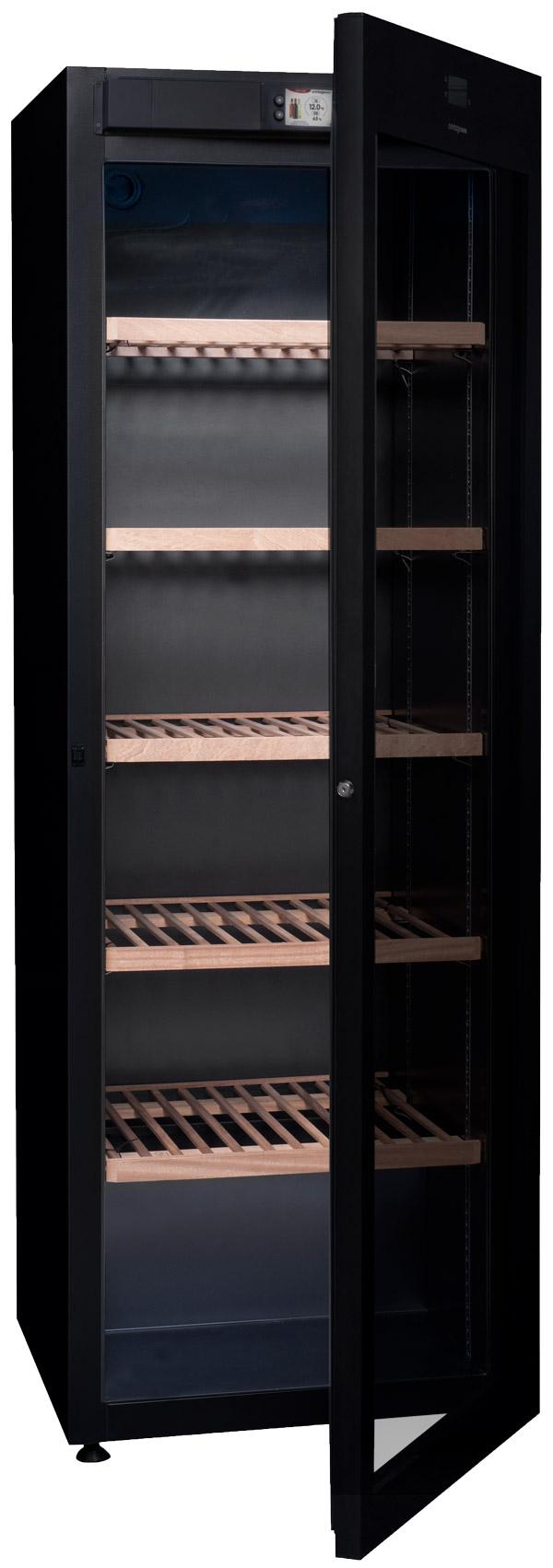 Fristående svart multitemperatursskåp med öppen dörr