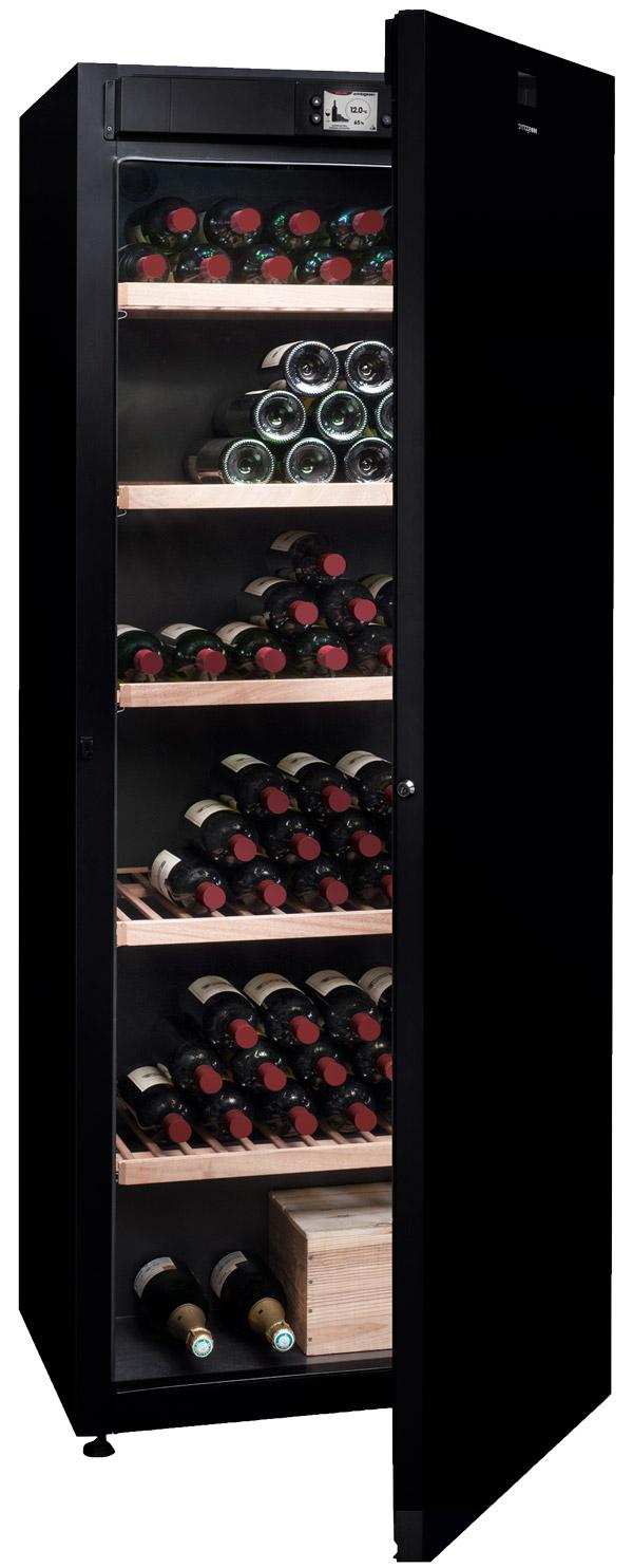 Stort vinlagringsskåp med monotemperatur i svart design
