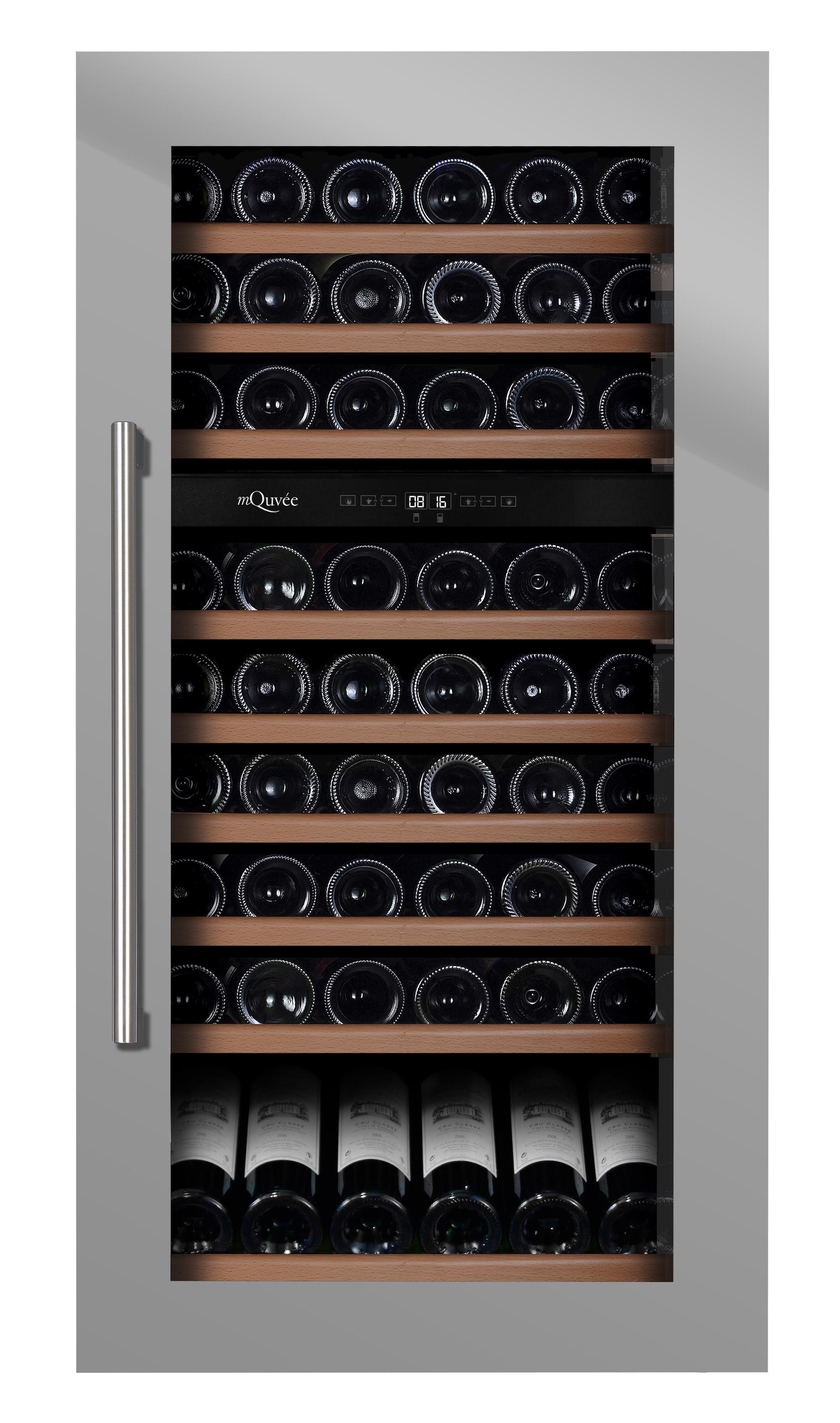 Stilren integrerbar vinkyl i rostfritt som rymmer 87 flaskor