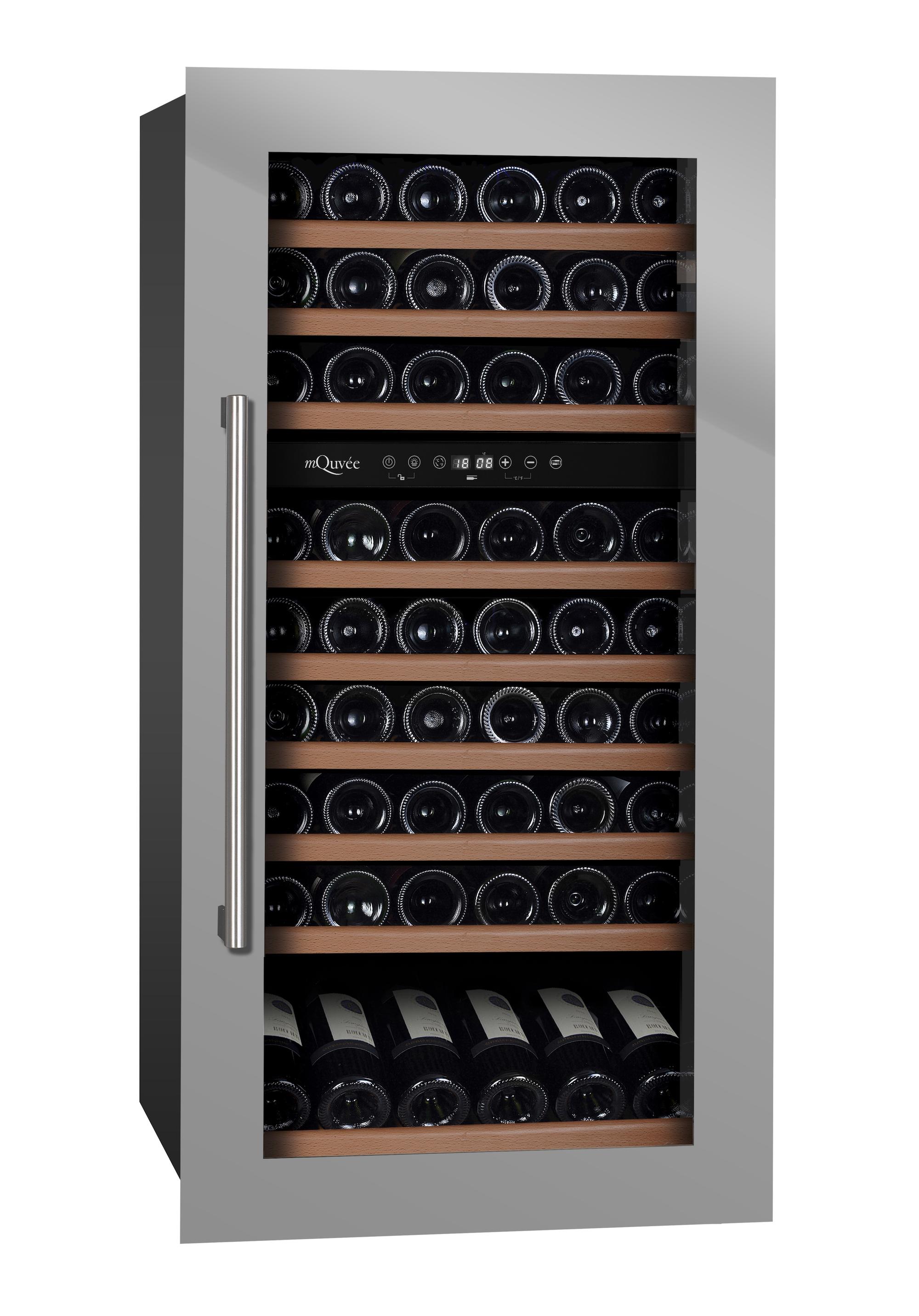 Stilren integrerbar vinkyl i rostfritt med 8 utdragbara hyllor