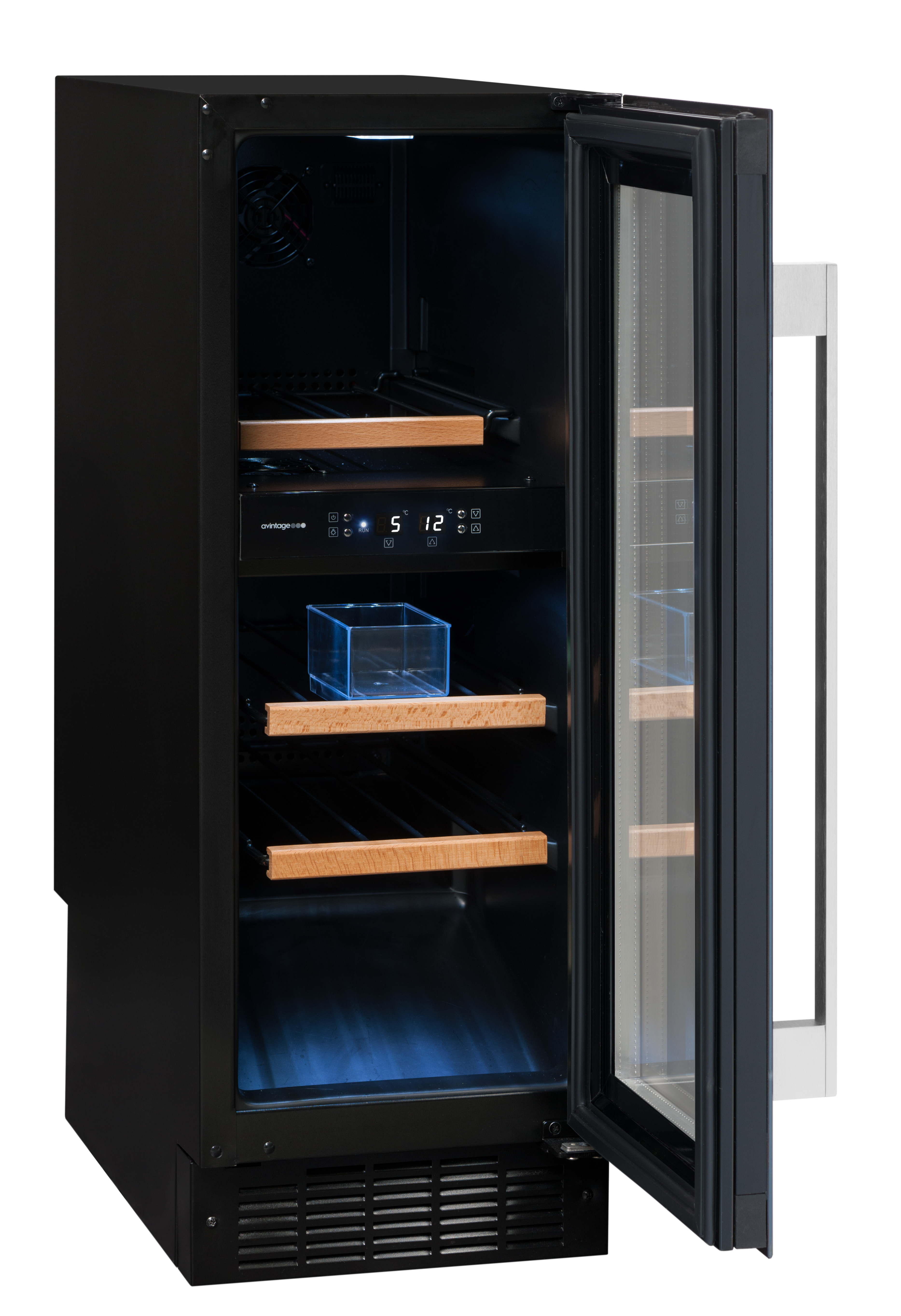 Avintage svart inbyggbar vinkyl med humidity box