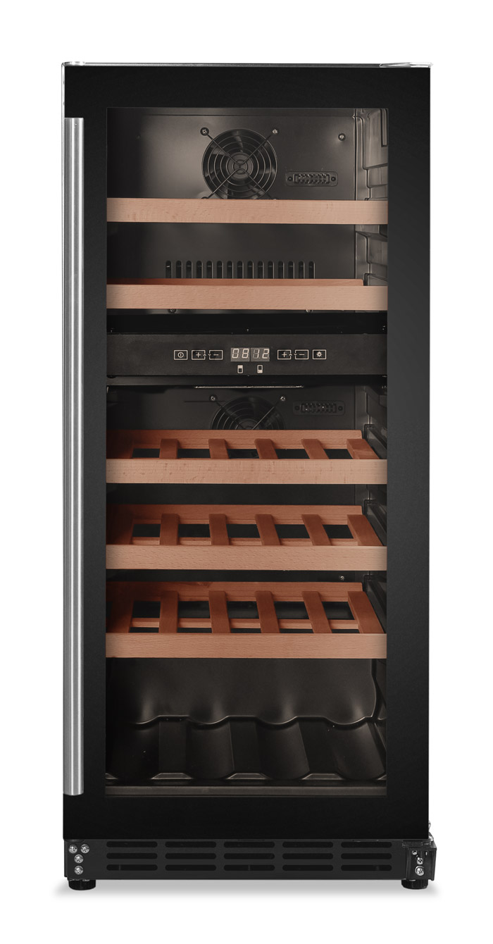 Inbyggbar svart vinkyl från Cavin med 5 hyllor