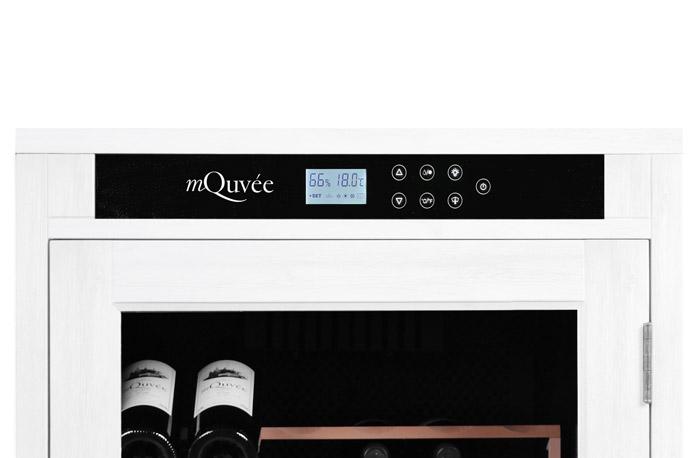 Bild på digital display till vitt vinlagringsskåp