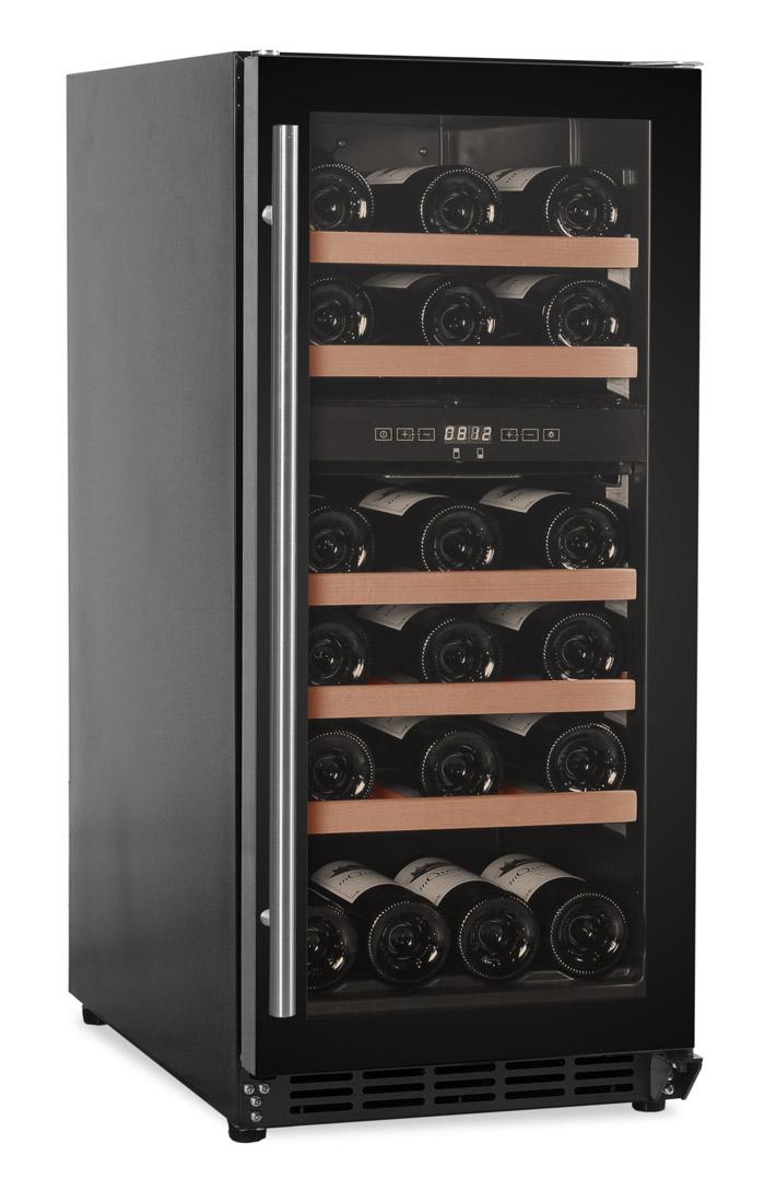 Inbyggbar svart vinkyl med plats för 29 flaskor