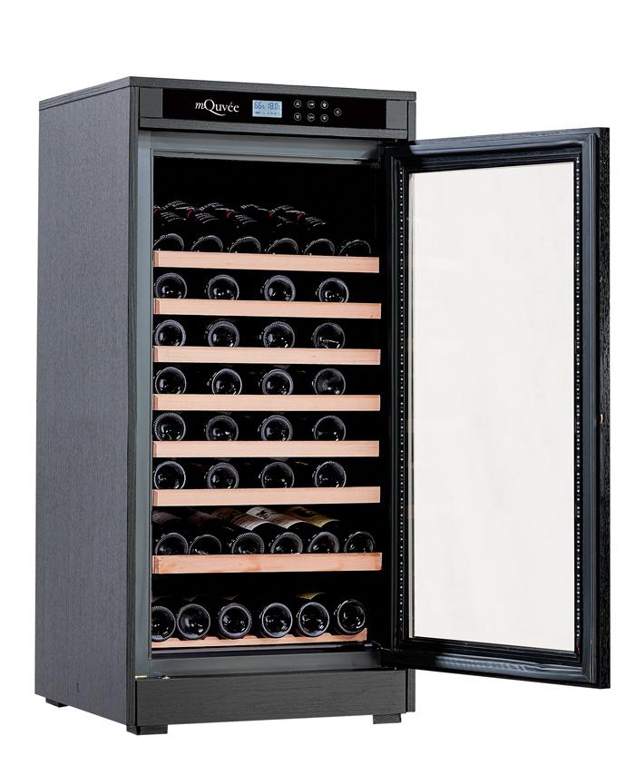 Svart vinlagringsskåp med uv-skyddad glasdörr