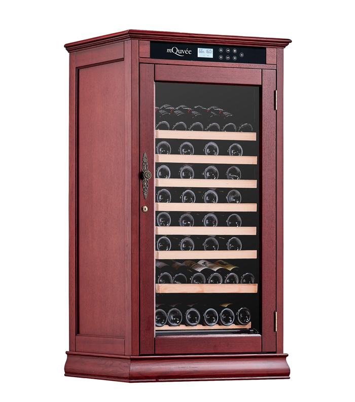 Rödbrunt vinlagringsskåp i amerikansk ek
