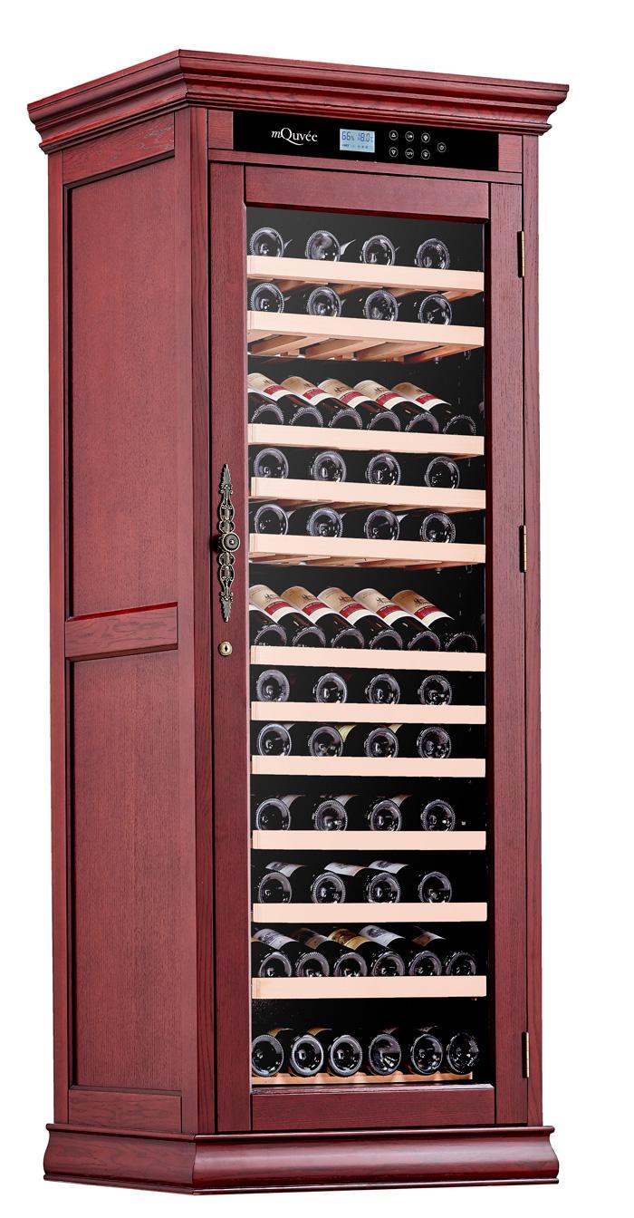 Ståtligt vinlagringsskåp i rödbrun nyans